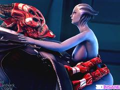 Blue alien with big boobs fucked by chubby boss