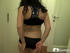 Horny bust girlfriend teases with her goods