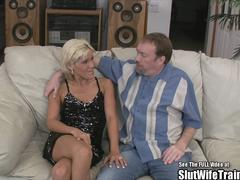 Petite Blonde Wife Fucked and Swallows Sperm