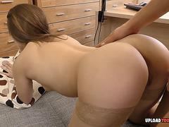 Kinky office babe works hard for her promotion