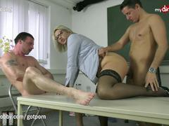 MyDirtyHobby - Threesome with college teacher to relieve exam stress