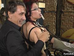 Busty slave pissing in public bar