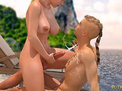 Surprise Beach Sex. 3D Futa on male