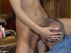 DADDY4K. Grey-haired dad makes love to his sons chick Anna Rose