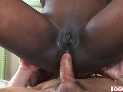 Black chick getting her tight asshole fucked by a white cock