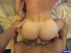 Muscular stepson ass plows buff stepdaddy bareback anal