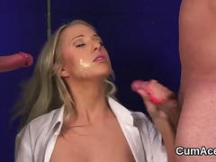 Wacky hottie gets jizz shot on her face swallowing all the charge