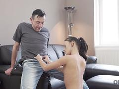 OLD4K. Young babe Tina Walker with petite shapes needs old mans attention
