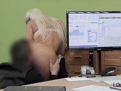 LOAN4K. Busty blonde Blanche gives herself to loan agent in office