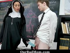 Horny Nun Squirts All Over A Horny Teen Pussy