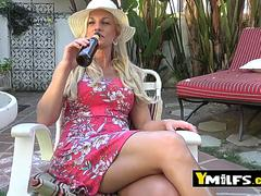 A conversation with this mature hottie on the patio becomes a show and tell before a great fuck