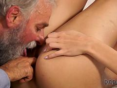 DADDY4K. Towheaded Ria Sun gets fucked by old male on her birthday