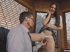 Small tits ts schoolgirl Jessy Bells sucked off by principal
