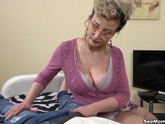 Euro Step mom Showcases Her Sons Big Dick by Sucking Him Off