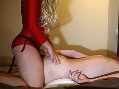Wife pegging his ass with strapon - real Amateur homemade pegging orgasm -