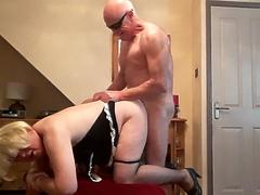 Lovely bald fucking a cross dresser old chubby man