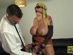 Restrained milf gets anal