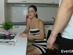 Flat broke bf allows randy buddy to penetrate his girlfriend for cash