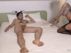 Nylon Footjob for Nervous Young Virgin Boy by German Teen