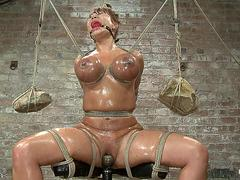 Huge boobs babe in extreme hogtie