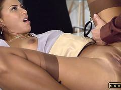 French Cassie in fine brown RHT Nylons