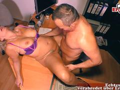 German mature blonde secretary fuck in office with saggy tits