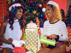 Ebony lesbians lick each others pussies and asses for the holidays
