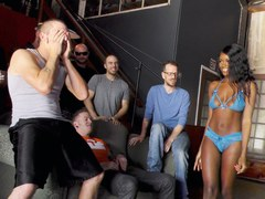 Beautiful Ebony Kandie Monaee Is Blowing Twelve Horny Dudes
