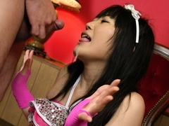Hello mikity japanese doll pokes her hairy pussy with a huge dildo film