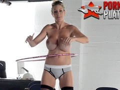 Busty MILF pornstar Puma Swede hula hooping naked