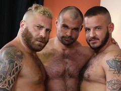 Gay Stories on Bed - An Energetic, Muscle Filled, Rough Threesome