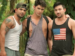 Trekking with your muscular stud friend yields a gay threesome