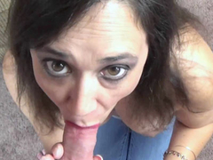 Busty MILF Alesia Pleasure on her knees and sucking dick