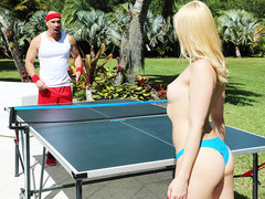Sierra Nicole playing ping-pong in the garden